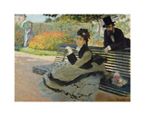 Camille Monet on a Garden Bench, 1873 Premium Giclee Print by Claude Monet