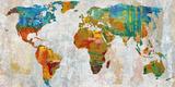 Abstract World Map Reproduction procédé giclée par Paul Duncan