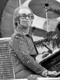 Elton John Performing on Stage at Wembley Stadium., London, England in June 1975 Photographic Print by Chris Barham