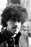 Phil Lynott of Thin Lizzy During a Recording Session for the Groups New Album. Fotografisk tryk af Peter Stone