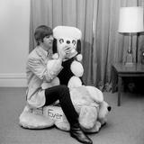 Ringo Starr, in New York Hotel Room, with a Gigantic Stuffed Toy Animal, Sent to Him by His Fans Photographic Print
