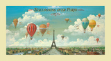 Ballooning over Paris Poster von Isiah and Benjamin Lane