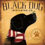 Schwarzer Hund Mistelzweig Kunstdruck von Stephen Fowler