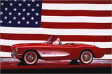 Corvette 1957 with US Flag Pósters por Unknown,