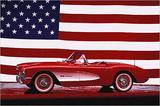Corvette 1957 with US Flag Julisteet tekijänä Unknown,