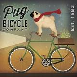 Pug on a Bike Kunstdruck von Ryan Fowler