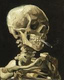 Hodeskalle med brennende sigarett|Skull with Burning Cigarette Kunst av Vincent van Gogh
