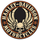 Harley-Davidson Flying Skull Button Die-Cut and Embossed Tin Sign