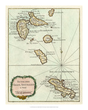 Petite Map of the Antilles Islands I Giclee Print
