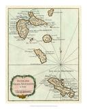 Petite Map of the Antilles Islands I Impressão giclée