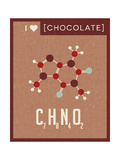 Retro Scientific Poster Banner Illustration of the Molecular Formula and Structure of Chocolate. Fo Pósters por  TeddyandMia
