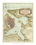 Petite Map of the Port of Havana Impressão giclée
