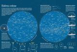 Infografía De Los Mapas Celestes De Los Polos Norte Y Sur (Constelaciones Estelares) Posters