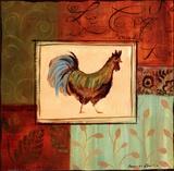 Patchwork Rooster IV Poster av Jennifer Sosik