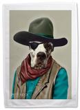 Pets Rock Cowboy Tea Towel Novelty