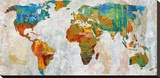 Abstract World Map Stretched Canvas Print by Paul Duncan
