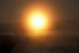 Utah Golden glow of the rising sun through stratus fog - Dinosaur National Park, Photographic Print by David Hosking
