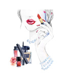 Watercolor Beautiful Face. Woman Portrait with Lipstick. Print by  tanycya