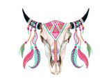 Watercolor Cow Skull Prints by  tanycya