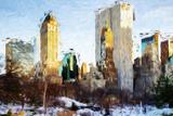 Central Park Buildings - In the Style of Oil Painting Impressão giclée por Philippe Hugonnard
