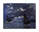 A Seascape, Shipping by Moonlight, c.1864 Impressão giclée premium por Claude Monet