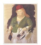 Mujer con Sombrero Rojo Samlertryk af Fernando Botero