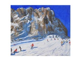 Skiing Down the Mountain, Selva Gardena Giclee Print by Andrew Macara