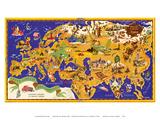 Around the World Map - Chocolat Menier - French Chocolate Company Kunst af J.B. Jannot