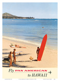 Fly Pan American to Hawaii - Pan American Airways Poster by  Kronfeld