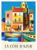 Visitez (Visit) La Cote D'Azur - France - French Riviera Art by Jacques Nathan-Garamond