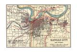 Map of Kansas City (C. 1900), Maps Gicléedruk van  Encyclopaedia Britannica