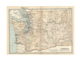 Map of Washington State. United States Giclee-trykk av  Encyclopaedia Britannica