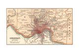 Map of Cincinnati, Ohio (C. 1900), Maps Gicléedruk van  Encyclopaedia Britannica