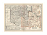 Map of Oklahoma and Indian Territory. United States Giclee-trykk av  Encyclopaedia Britannica