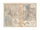 Map of Nevada and Utah. United States. Inset Map of Salt Lake City and Vicinity Giclee-trykk av  Encyclopaedia Britannica