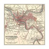 Map of Pittsburg, Now Spelled Pittsburgh (C. 1900) Gicléedruk van  Encyclopaedia Britannica