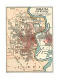 Map of Omaha and Vicinity Gicléedruk van  Encyclopaedia Britannica