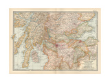 Map of Scotland, Central Part Gicléedruk van  Encyclopaedia Britannica