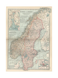 Map of Norway and Sweden. Inset of Kristianiafjord and Vicinity, and Stockholm and Vicinity Giclée-tryk af  Encyclopaedia Britannica