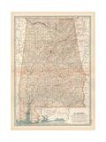 Plate 84. Map of Alabama. United States Giclee-trykk av  Encyclopaedia Britannica