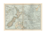 Plate 52. Pacific Ocean Islands Map Giclée-Druck von  Encyclopaedia Britannica