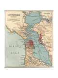 Map of the San Francisco Bay Area (C. 1900), Maps Gicléedruk van  Encyclopaedia Britannica