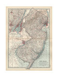 Plate 72. Map of New Jersey. United States. Inset Map of Jersey City Giclee-trykk av  Encyclopaedia Britannica