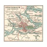 Map of Stockholm (C. 1900), Maps Gicléetryck av  Encyclopaedia Britannica