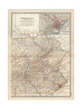 Map of Pennsylvania, Eastern Part. United States. Inset Map of Philadelphia and Vicinity Giclee-trykk av  Encyclopaedia Britannica