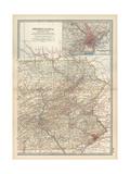 Map of Pennsylvania, Eastern Part. United States. Inset Map of Philadelphia and Vicinity Gicléedruk van  Encyclopaedia Britannica