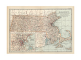 Map of Massachusetts, United States. Inset of Boston and Vicinity Giclee Print by  Encyclopaedia Britannica