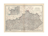 Plate 82. Map of Kentucky. United States Giclee-trykk av  Encyclopaedia Britannica