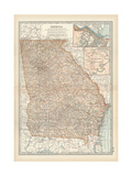 Map of Georgia. United States. Inset Maps of Savannah and Vicinity, Chickamauga National Park Giclee-trykk av  Encyclopaedia Britannica