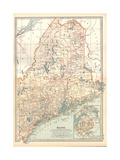Map of Maine, United States. Inset of Mount Desert Island Giclee-trykk av  Encyclopaedia Britannica